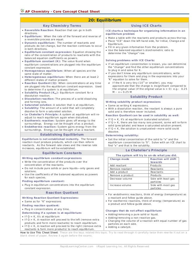 AP Chemistry - Core Concept Cheat Sheet  20: Equilibrium Key Chemistry Terms  Using ICE Charts  • Reversible Reaction: Rea...