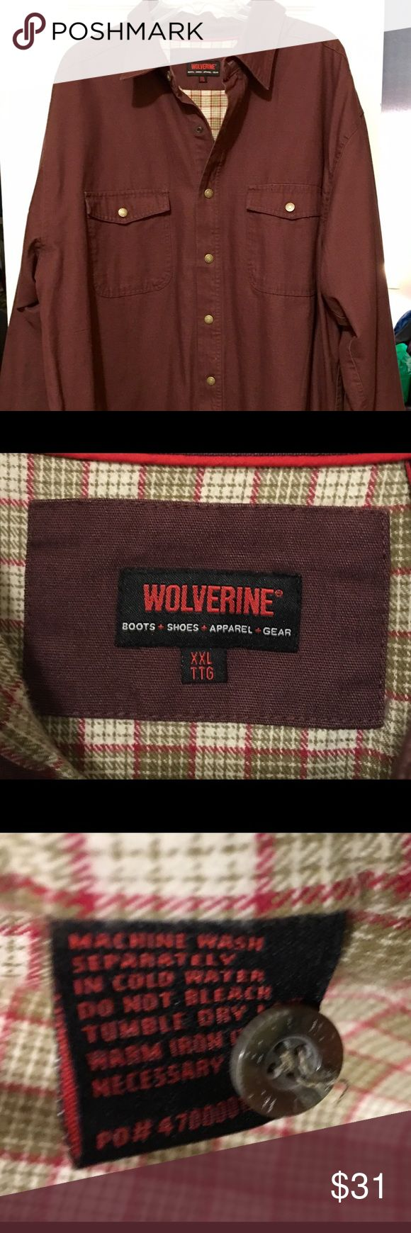 Men's Wolverine Insulated Shirt Sz XXL Men's Heavyweight-Insulated shirt by Wolverine. Front pockets, snap closure. Worn once or twice. Great condition. Wolverine Shirts Casual Button Down Shirts