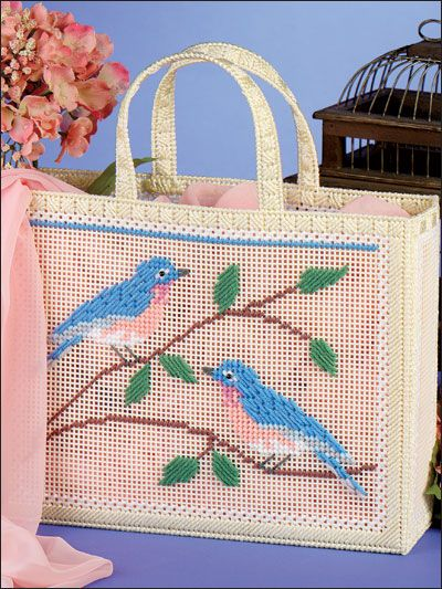 Plastic Canvas - Handbag & Tote Patterns - Bluebird Tote