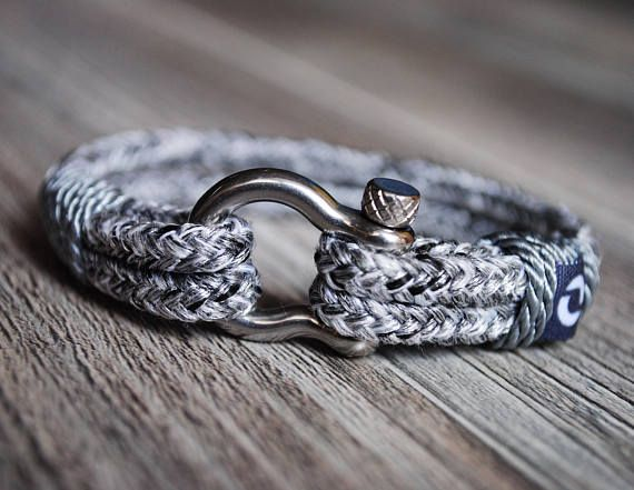 Gray Rope Bracelet Grey Rope Bracelet Silver Nautical