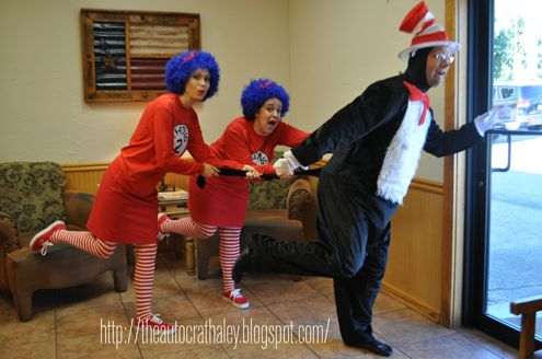 The Autocrat: Cat In The Hat, Thing 1& Thing 2 adult halloween costume triplet costume diy