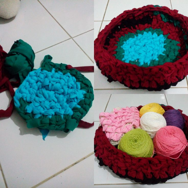 DIY Basket from used cloth #DIY #crochet #crocheting #basket