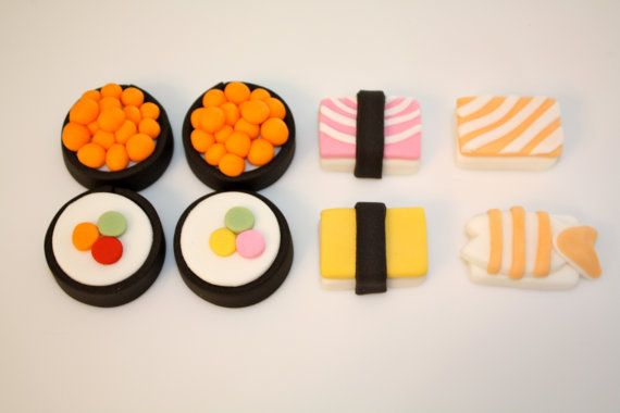 SUSHI LOVER-  Fondant Cupcake, and Cookie Toppers - 1 Dozen. $21.95, via Etsy.