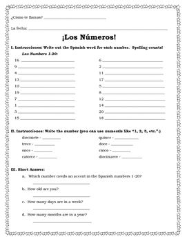 spanish numbers 1 30 practice worksheets 5 pages editable numbers los numeros spanish. Black Bedroom Furniture Sets. Home Design Ideas