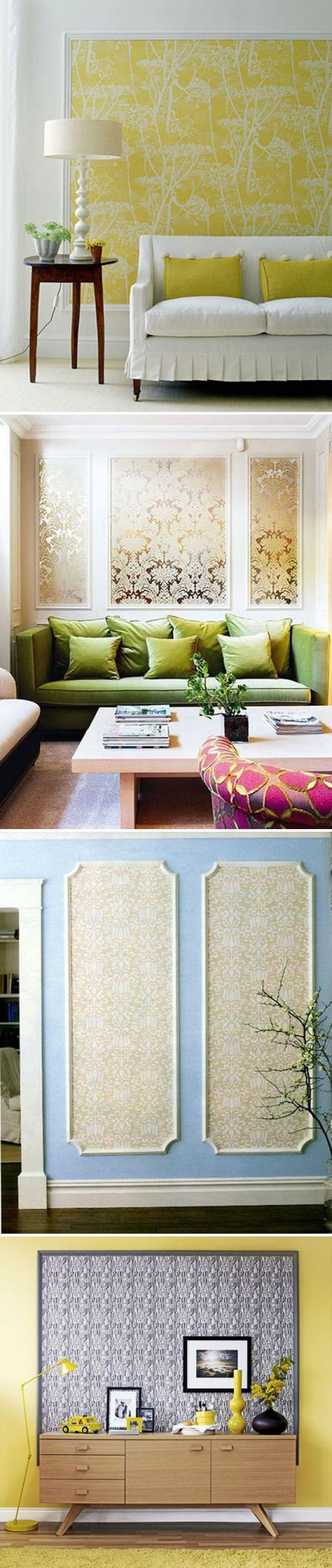 WALL ART :: DIY Wallpaper Panels :: These panels become art w/ a bit of molding framing them. If you can't afford to buy enough of a fabulous designer print to do a whole room, try this!   #apartmenttherapy #wallpaper #wallart