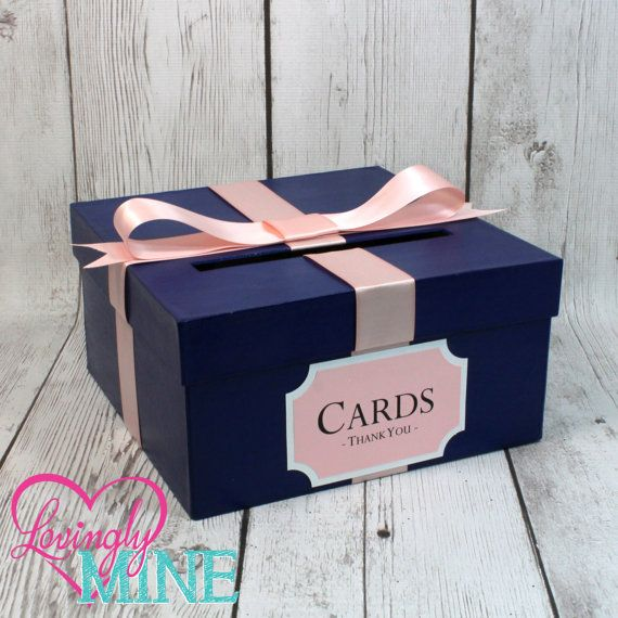 Card Holder Box with Sign in Navy Blue & Blush Pink, Additional Colors Available  This listing is for 1 card holder box. The box is a cheaper alternative to those expensive fabric covered boxes, suitable for any event or for any use. Use for small event card holder or for Baby Showers to place baby wishes cards. The box is hand painted with acrylic paint, accented with satin ribbon on all 4 sides and topped with a bow on the top and a slit to allow the cards to be entered. The box is also...