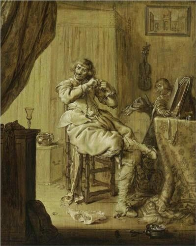Adriaen van de Venne  Un Cavaliere Al Suo Tavolo Da Toeletta  1631 Private Collection