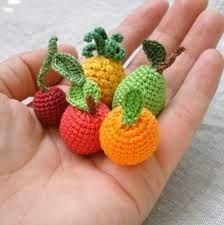 Mini Amigurumi Fruits, Handcrocheted Play Food, Orange, Apple, Cherry, Pear…
