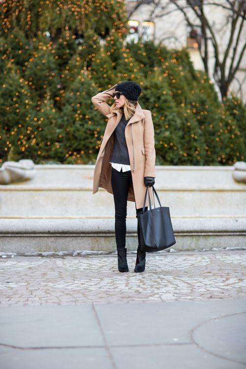 Black pants, grey sweater, camel coat