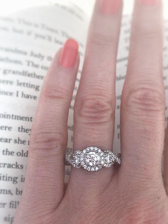 7 8 Carat Diamond Engagement Ring 14k White Gold Offering 14k Engagement Ring Diamond Engagement Rings Engagement Rings