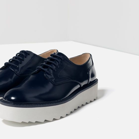 FLAT PLATFORM LACE-UP SHOES from Zara