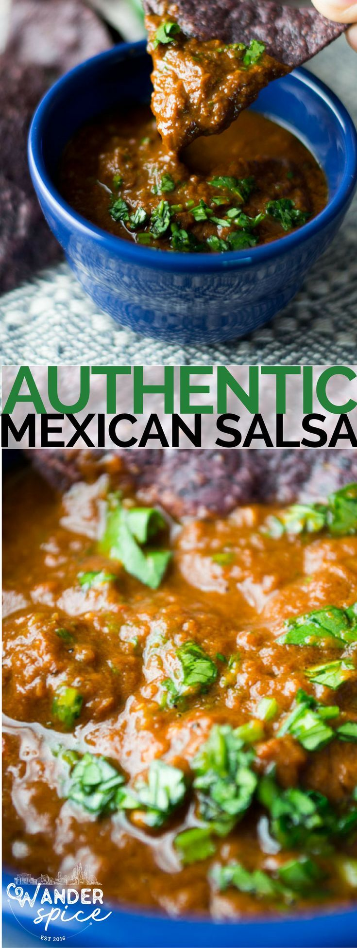 Authentic Mexican Salsa. Poblano, Serrano, Chipotle and Jalapeno grilled and charred – like a rebel biker gang circling your taste buds. Mexican | Salsa