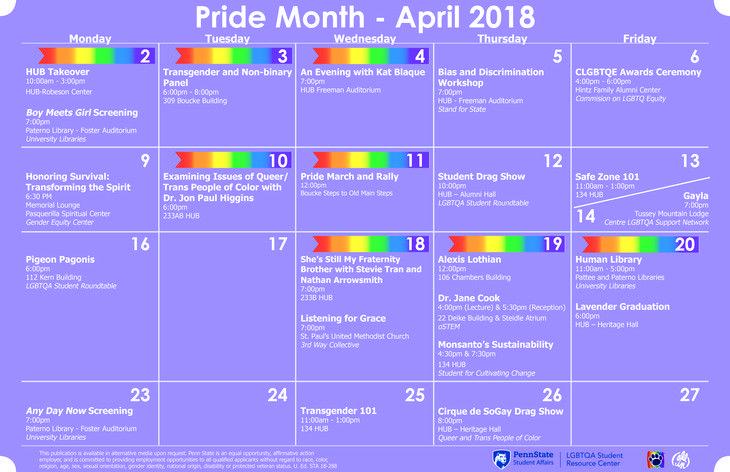 Penn Calendar.Pride Month Calendar Of Events For Penn State Glbt Book Month