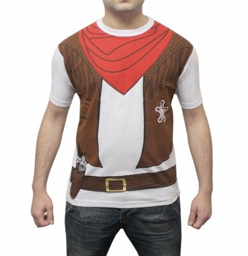 Adult Mens Costume Cowboy Printed T Shirt Fancy Dress