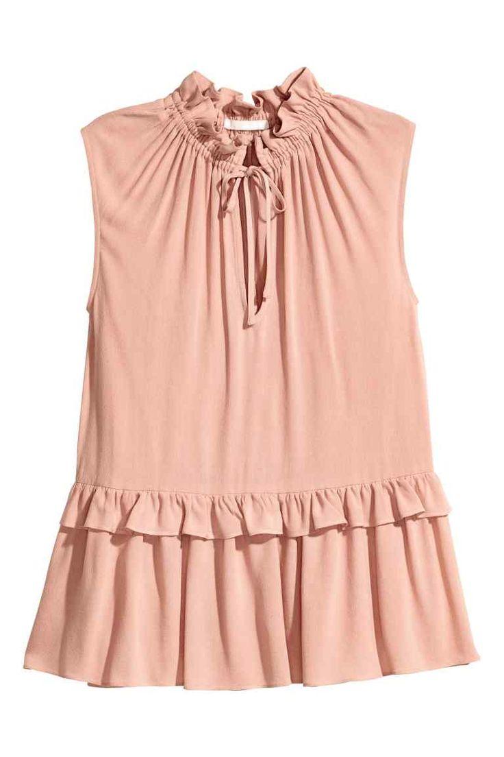 Mouwloze blouse met volants - Poederroze - DAMES | H&M NL