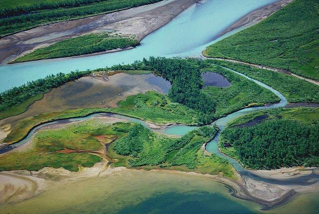 Lájtávrre Laitaure river-delta Sarek Sweden