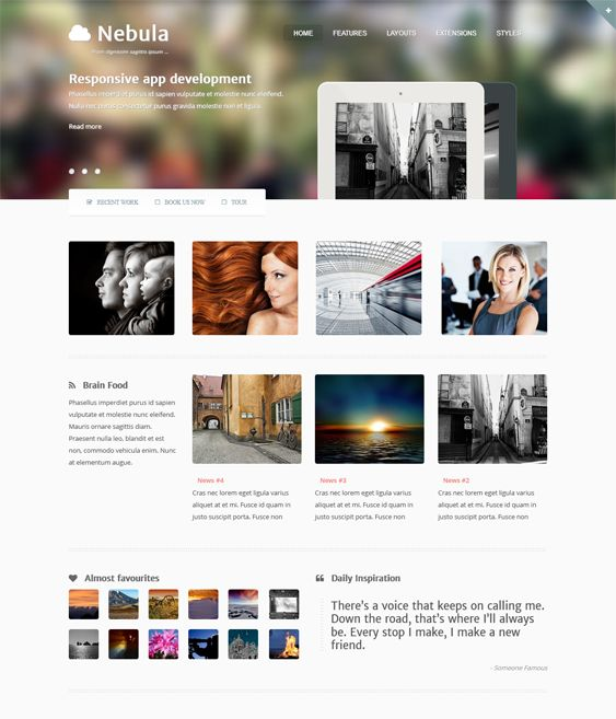 This Joomla portfolio template offers a responsive layout, lots of fonts, a drag and drop layout builder, a mega menu, Bootstrap integration, K2 compatibility, a built-in off canvas menu, a slideshow with CSS3 animated transitions, and more.