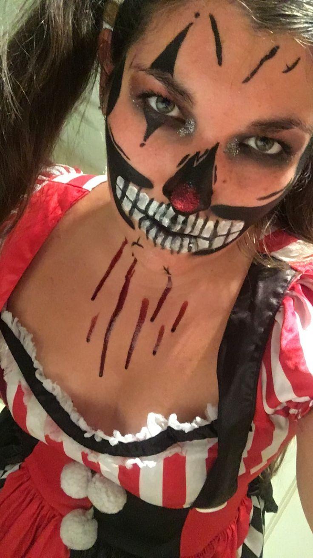 halloween clown makeup blood skeleton costume