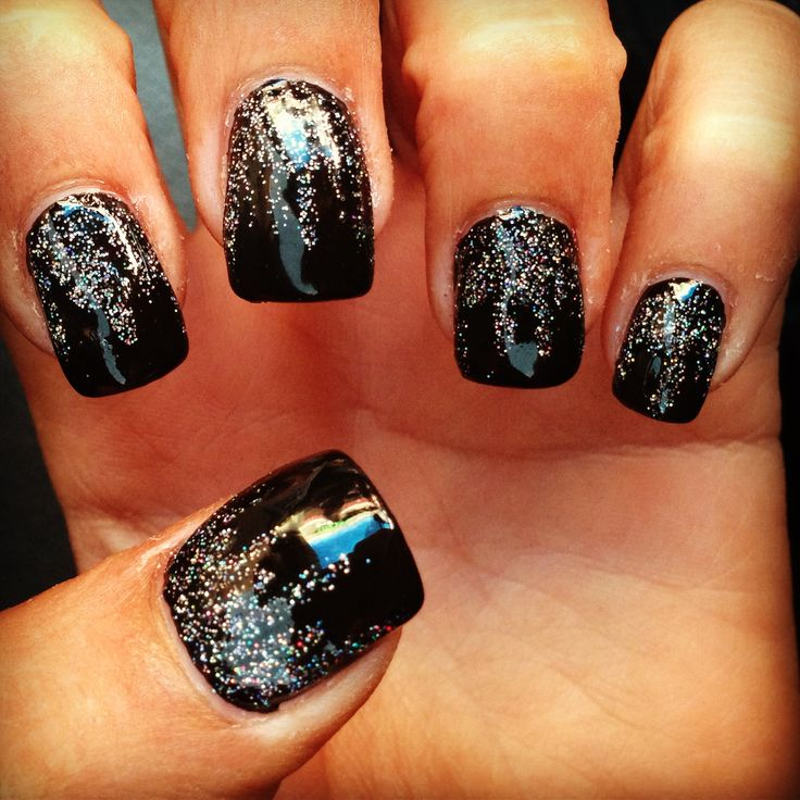Best 25 black nails with glitter ideas on pinterest black inversion of this color combination or an inversion of different complementary colors dark glitter on prinsesfo Choice Image
