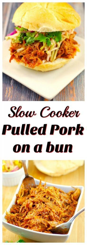 Slow Cooker Pulled Pork on a bun |#crockpotpulledporksandwich - Foodmeanderings.com This slow cooker smoky shredded pork, piled high with a quick broccoli slaw, is the perfect summer potluck or BBQ idea or for when you just  need to feed a crowd.