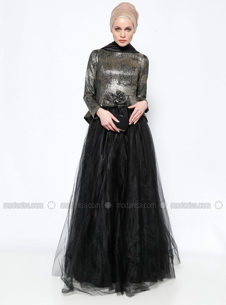 Jacquard Evening maxi dress modest fashion styles Dress - Black - DMN