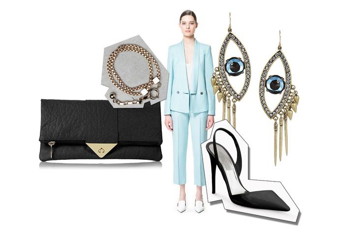 Completo Zara, pochette Topshop, décollétes a punta Stella McCartney, bracciale  Stories e orecchini Lulu Frost