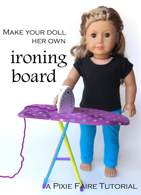 Make a doll sized ironing board! DIY pretend play sewing room furniture | Free craft tutorial on Pixie Faire!