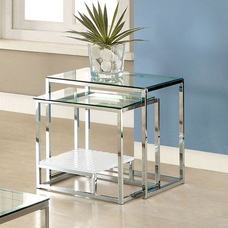 Vendi Contemporary Chrome Base Nesting End Table