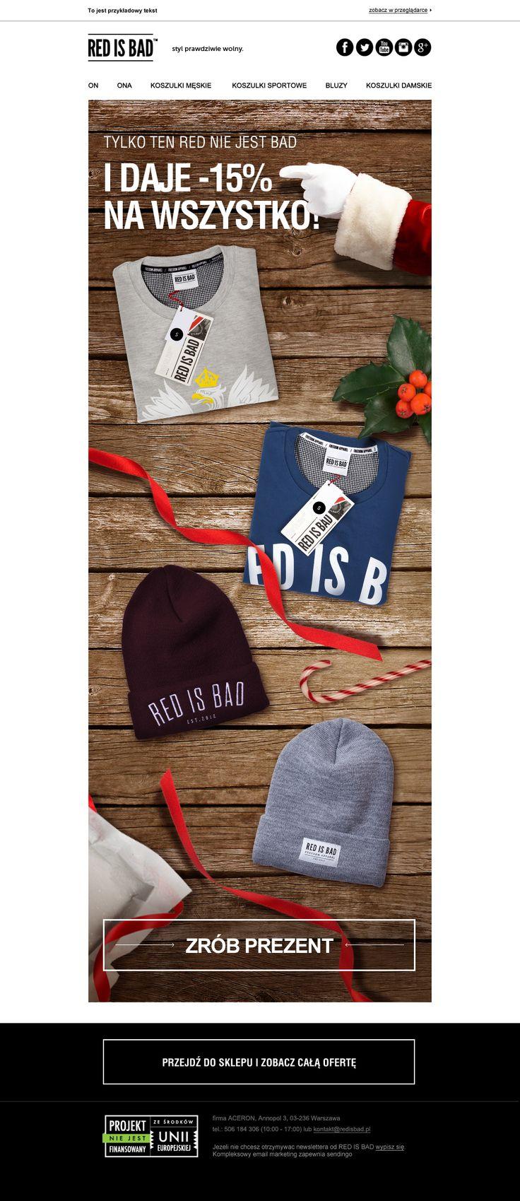 Zabawa słowna + kilka świątecznych motywów, w prosty sposób połączonych z produktami marki = zaskakujący efekt.   #newsletter #email #redisbad #template #design