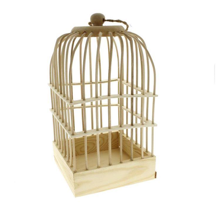 Cage à oiseaux en bois à décorer - 32 x 16,5 x 16,5 cm