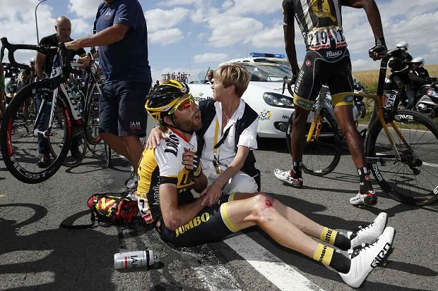 Laurens Ten Dam was treated for a dislocated shoulder