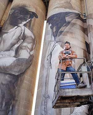 brim silo art | Brim, silos, art, Wimmera, Guido van Helten mural on the Brim Silo.