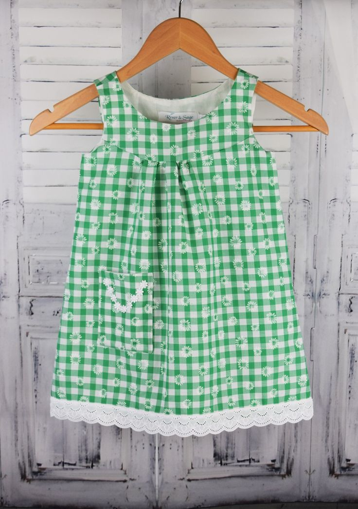 Daisy dress in green gingham. Perfect cool summer dress for your little one. 100% cotton dress and lining.