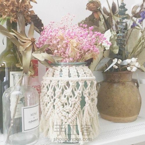 花瓶的嫁衣--初一  好看的绳编家居饰品教程 第13步