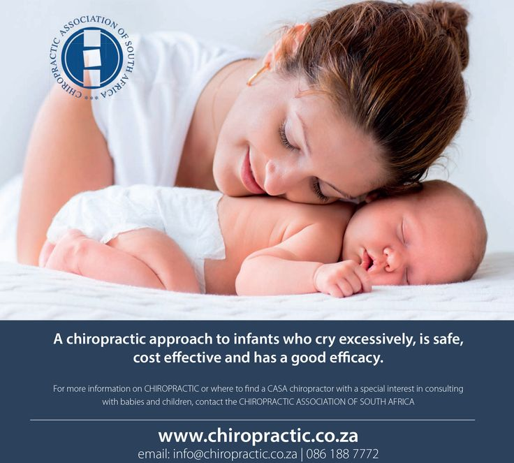 Have you considered CHIROPRACTIC CARE for your baby who cries excessively?  A chiropractic approach to infants who cry excessively, is safe, cost effective and has a good efficacy. www.chiropractic.co.za