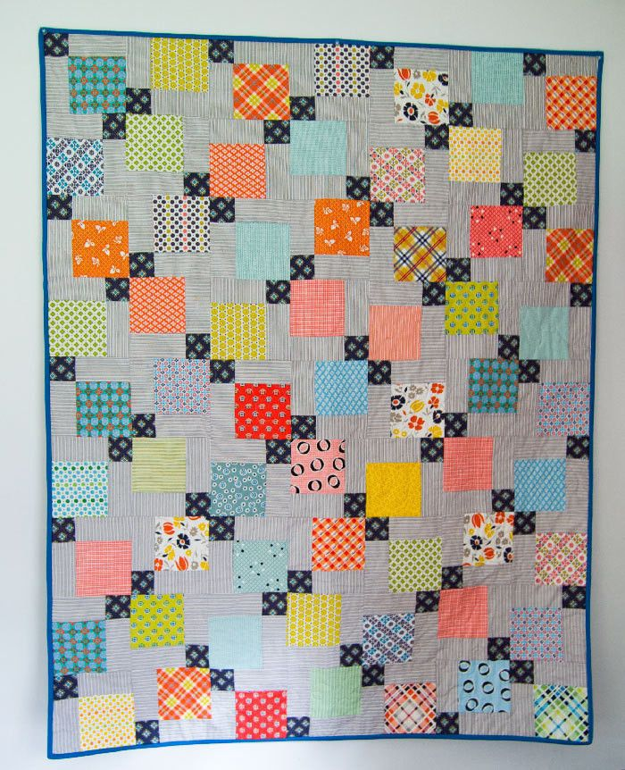 Disappearing Nine Patch Quilt • Free tutorial with pictures on how to make a patchwork quilt in under 180 minutes