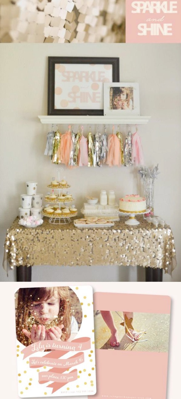 Sparkle and Shine themed birthday party via Kara's Party Ideas | KarasPartyIdeas.com #sparkle #sparkly #shinny #shine #birthday #party #ideas #tassle #garland