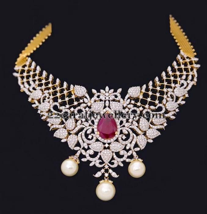 Jewellery Designs: Latest Leafy Style Diamond Choker