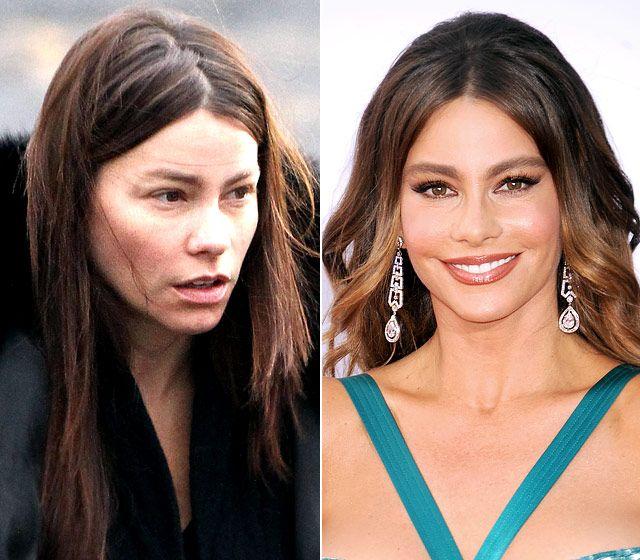 Sofia Vergara  On left: walking around the set of New Year's Eve in New York City on Feb. 8, 2011  On right: attending at the 64th Primetime Emmy Awards in L.A. on Sept. 23, 2012