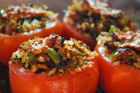 Wild Rice and Bacon Stuffed Tomatoes