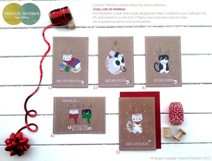 Creative Matchbox Christmas Card Collection based on my lovely rescue cats Gandalf and Lexie