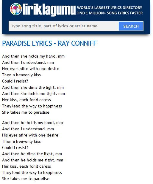 PARADISE Lyrics - RAY CONNIFF http://www.liriklagumu.com/4591307/paradise-lyrics-ray-conniff/