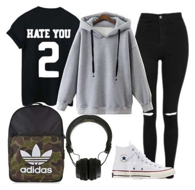 Friday chill outfit by mrsavocado on Polyvore featuring WithChic, Topshop, Converse, adidas Originals and Marshall