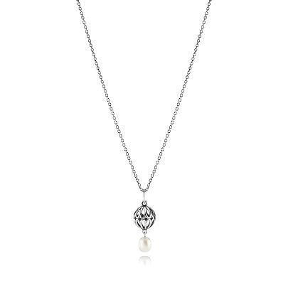 Pandora Sterling Silver White Freshwater Pearl Necklace
