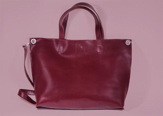 Dark Red Leather Crossbody Shopper Bag Michelle by ARadaStore