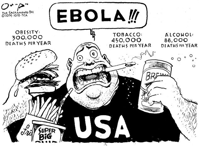"""I remember when the Ebola outbreak happened, it was the ONLY thing everyone was talking about. While many people fell victim to the disease, there are thousands of deaths happening before our eyes from issues we fail to acknowledge. I like how this article refers to political cartoons as """"pictures with a point."""" The point in this cartoon is pretty evident. http://www.loc.gov/teachers/classroommaterials/presentationsandactivities/activities/political-cartoon/about.html"""