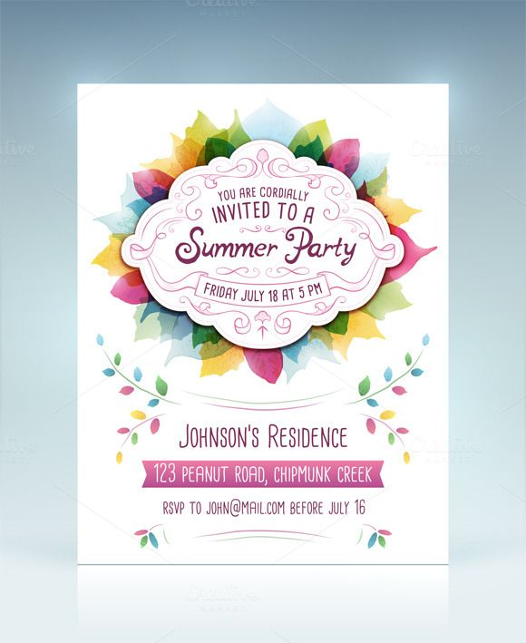 Summer Party Invitation by Swedish Points on Creative Market