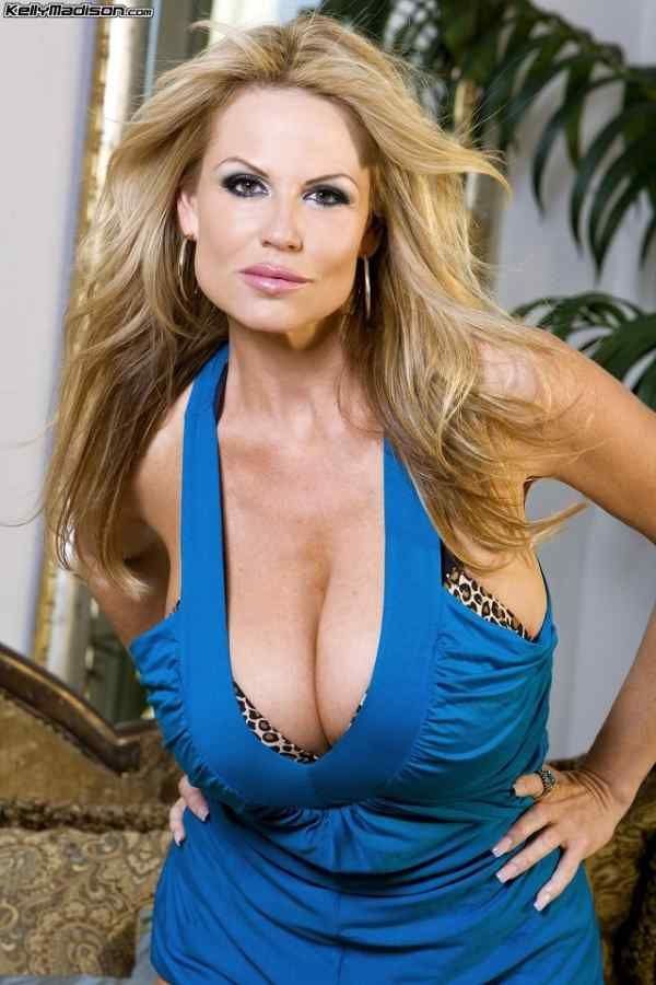 Kelly Madison In Blue Dress Cleavage Kelly Madison