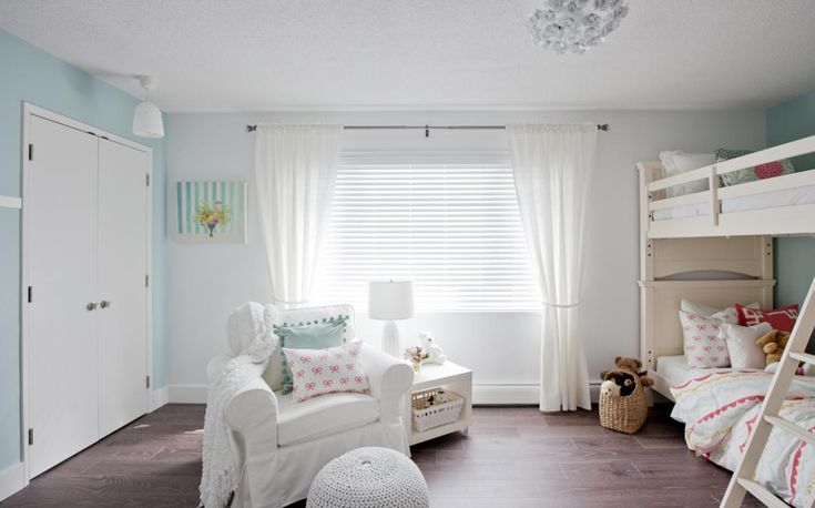 From Love It Or List It Vancouver: What a #cute   #bedroom. We're fans of how the pastel tones make this room light and airy. #HomeDecor