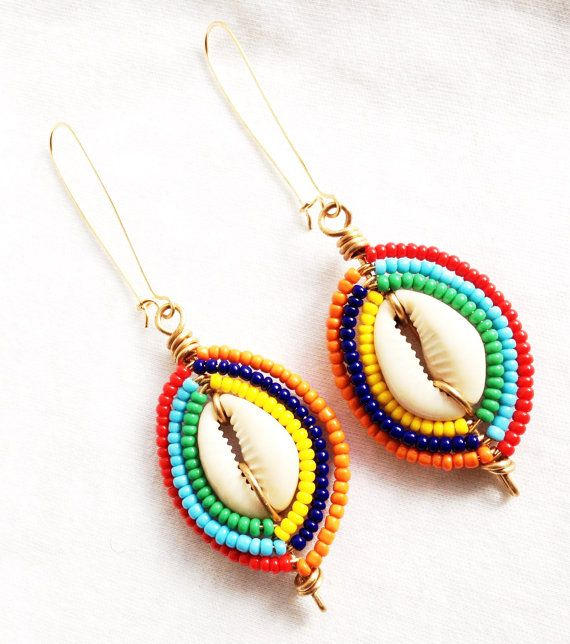 MAASAIs LOVE  Beaded Cowrie Shell Earrings by ZuriEarthlyDesigns, $34.00